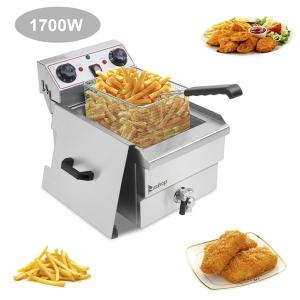 ZOKOP EH101V 8.5QT/8L Total Capacity 12.5qt/11.8l Stainless Steel Faucet Single Tank Deep Fryer 1700W Max (8L Large Fryer Blue / Large Handle)