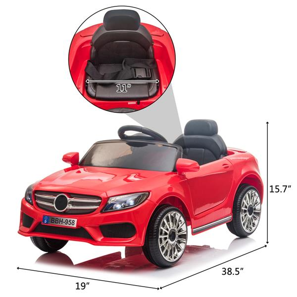 12V Kids Ride On Car 2.4GHZ Remote Control LED Lights Red