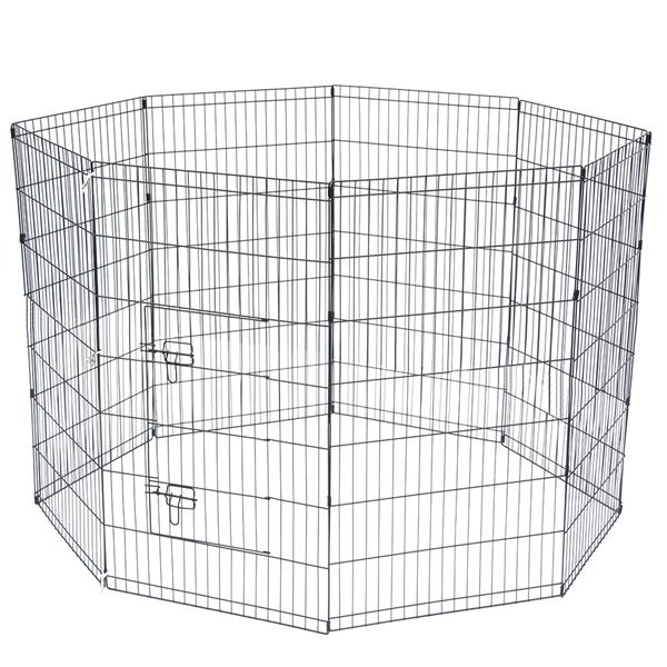 "42"" Tall Wire Fence Pet Dog Cat Folding Exercise Yard 8 Panel Metal Play Pen Black"