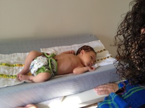 Baby Guy in a one-size Best Bottom diaper. He was 6 days old & about 8 lb.