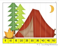K Skip Counting Puzzle- Camping