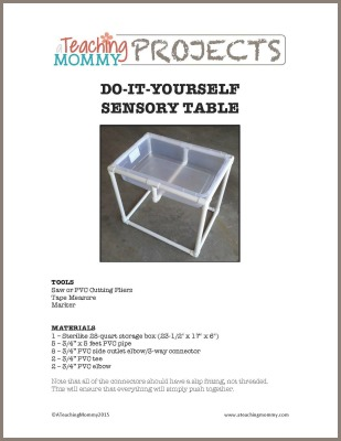 Sensory Table Printable Instructions