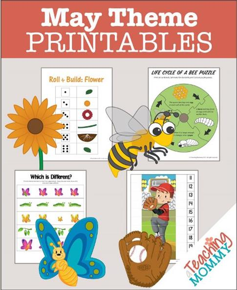 Don't miss this collection of FREE May Themed Printables. You'll find Flowers, Bees, Butterflies & more educational theme packs.