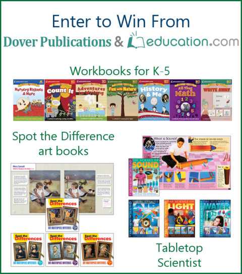 Enter to win one of three workbook sets (science, workbooks, or art) from Dover Publications. Giveaway closes Oct. 8, 2015