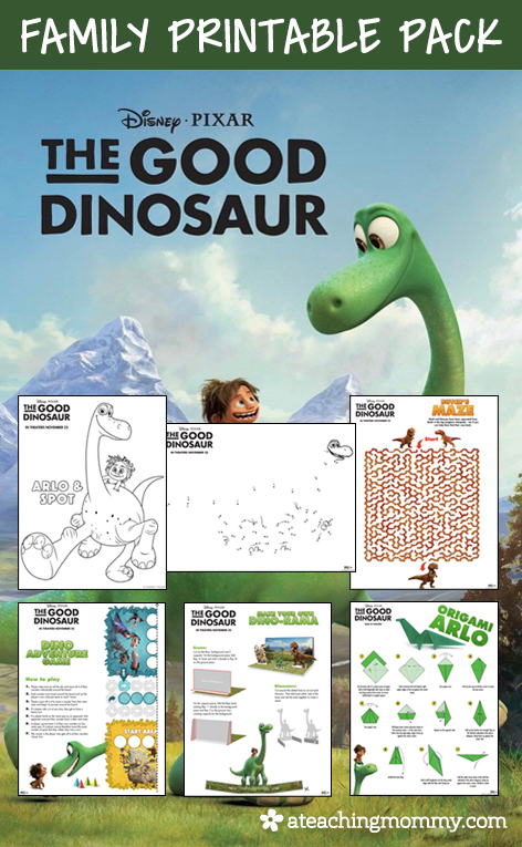 FREE Disney The Good Dinosaur printables for the whole family! This kit includes over 20 pages of resources. You'll find crafts, activities, and even games!