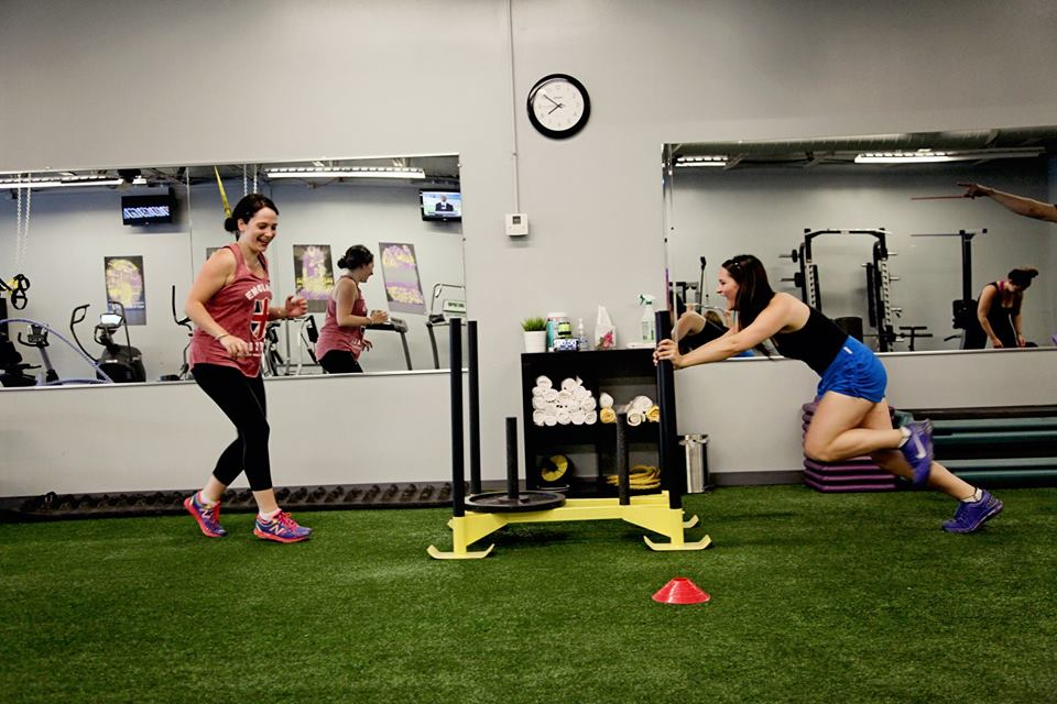 Sisters sled push workout