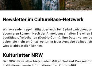 Hier gibts den Newsletter des Kulturservers NRW
