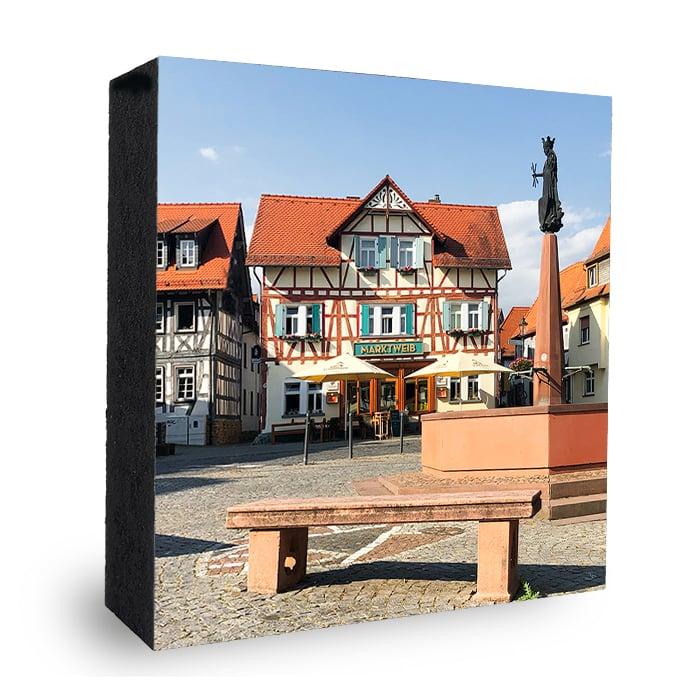 Oberursel Marktplatz Bild auf Holz