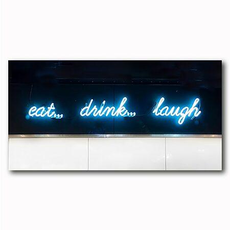 eat, drink, laugh Bild auf Holz