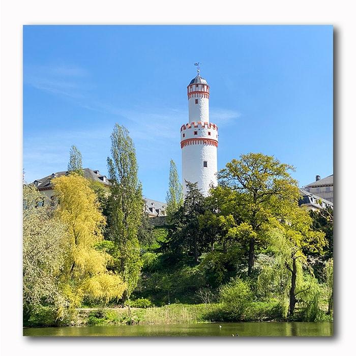 Bad Homburg Schlossturm mit Seeblick, Bild auf Holz