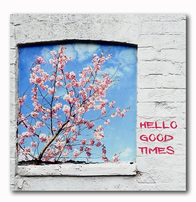 Hello good times - Graffiti auf Steinmauer