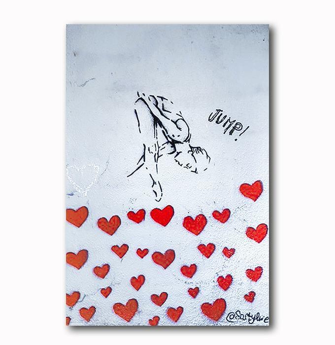 Jump - Wandgraffiti Sprung ins Glück