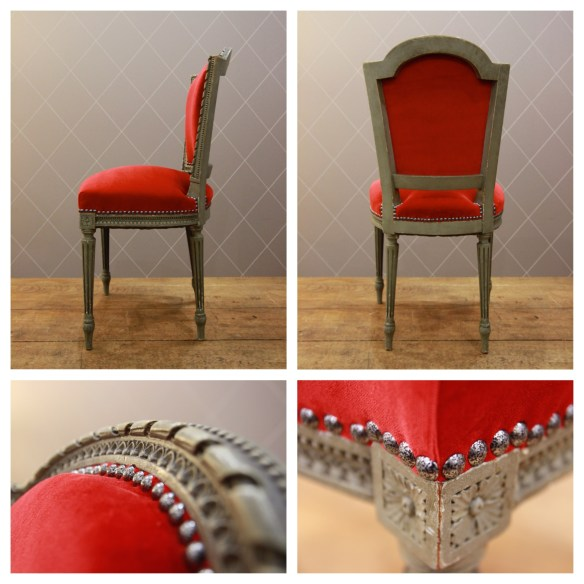 Chaise Louis XVI en velours rouge - Atelier MD2