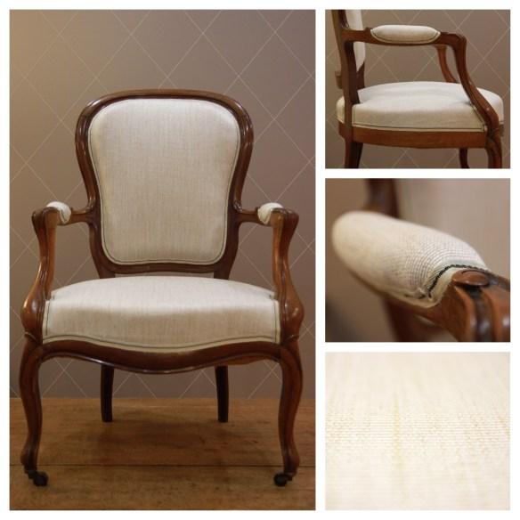 Chaise style Louis Philippe en Lin Beige Caramel - Atelier MD2