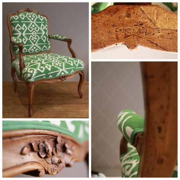 Superbe fauteuil d'époque Louis XV réhaussé de vert