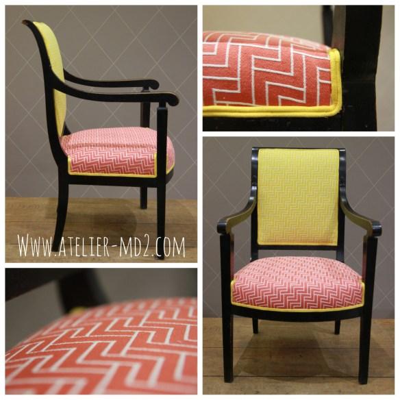 Conjugaison de jaune et paprika sur fauteuil ancien