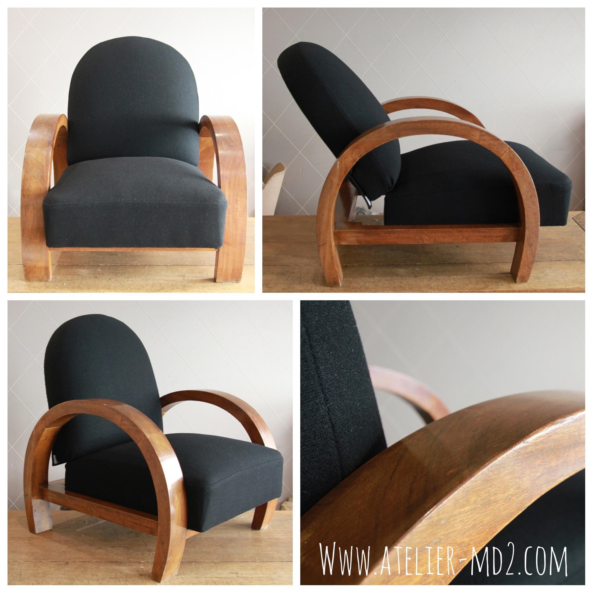 Singulier fauteuil Art Déco 1930 en laine noire