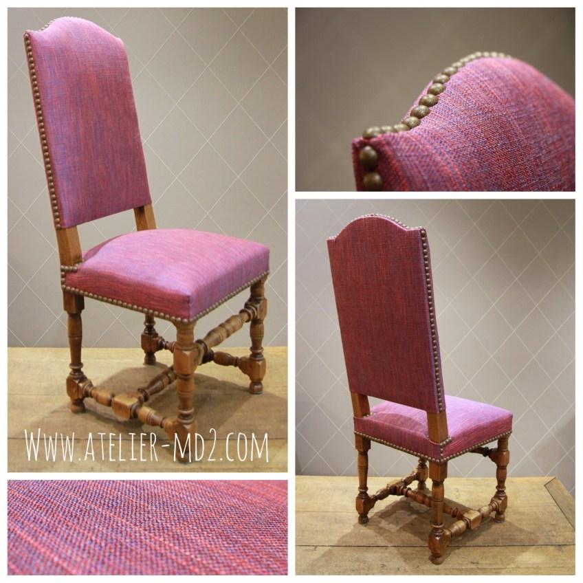 Réfection d'assise et changement de couleur de cette chaise de bureau style Louis XIII