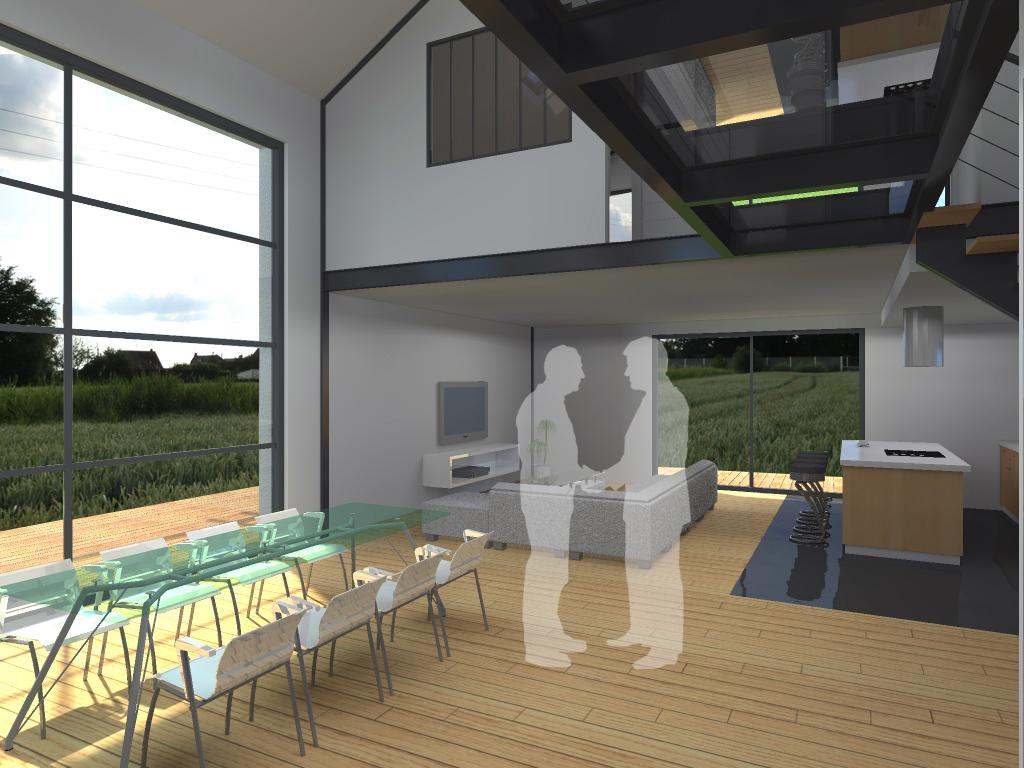 Construction d 39 une maison style loft la gorgue for Fenetre style loft