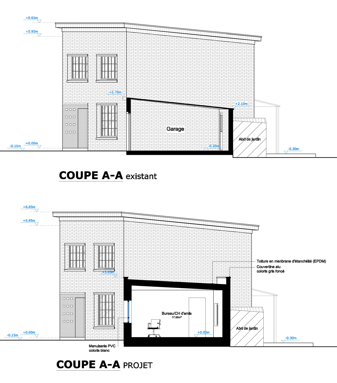 Transformation d un garage en chambre avec la construction d un