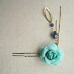 ターコイズブルーのバラのかんざし ダークブルー