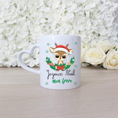 Mug anse coeur joyeux noel motif cerf mignon couronne