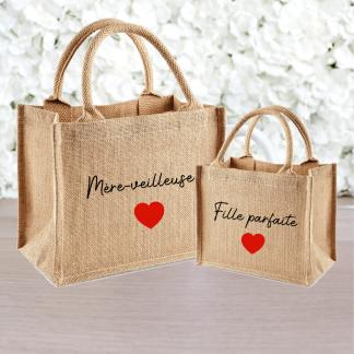 Duo sacs en toile de jute mère fille cadeau personnalisé