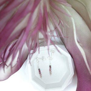 Boucles d'oreilles, Etincelles, crochet, tourmaline rose3