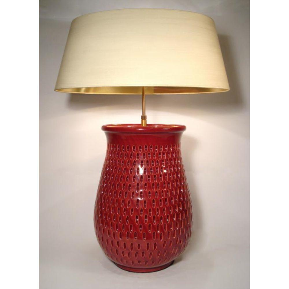 lamp base 2-flame vase oxblood red - SI-298