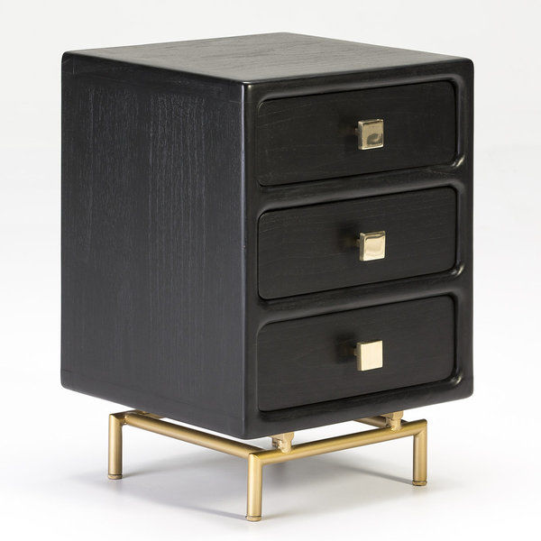 Thai Natura Bedside Table TN-26455/20 black 3 drawers