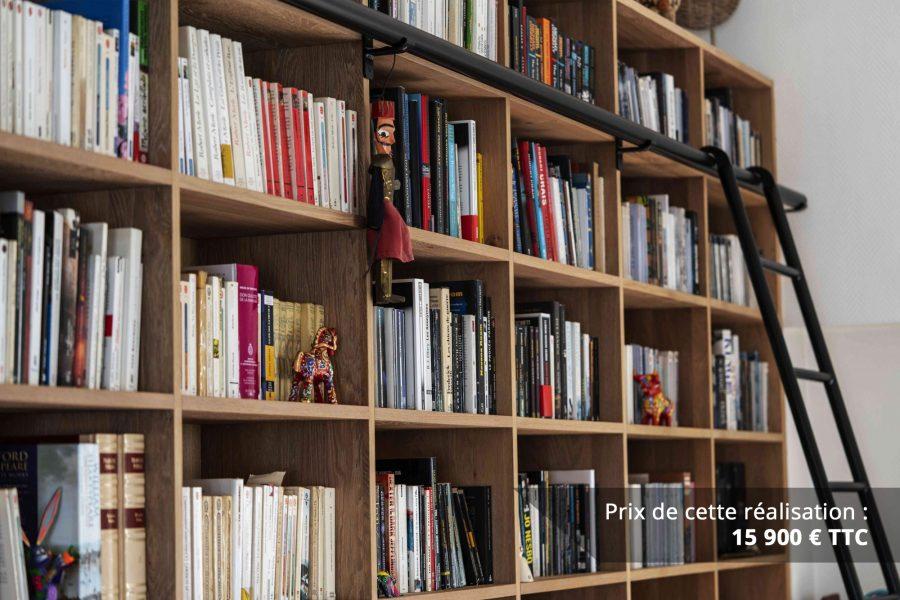 bibliotheque sur mesure chene brosse