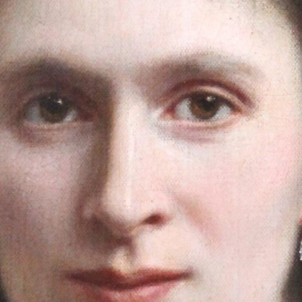 Détail  de portrait de femme XIXème siècle