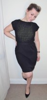 Atelier Boyceau black knitted cotton dress, lace topped