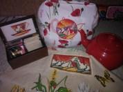 Tea box, tea towel and tea cosy
