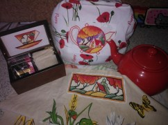 Tea box, tea towel and tea cosy