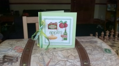 'Apples' card - from an incredibly old sewing magazine whose cover has been long lost