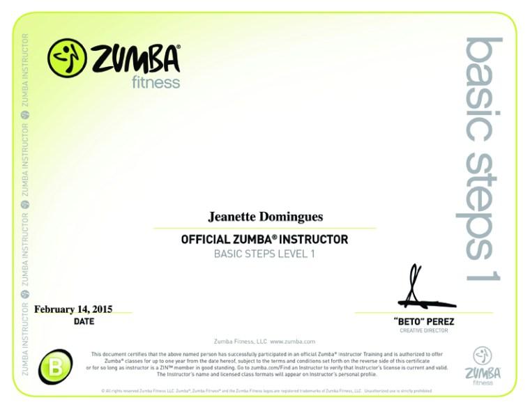 Certificado de Instrutora de Zumba