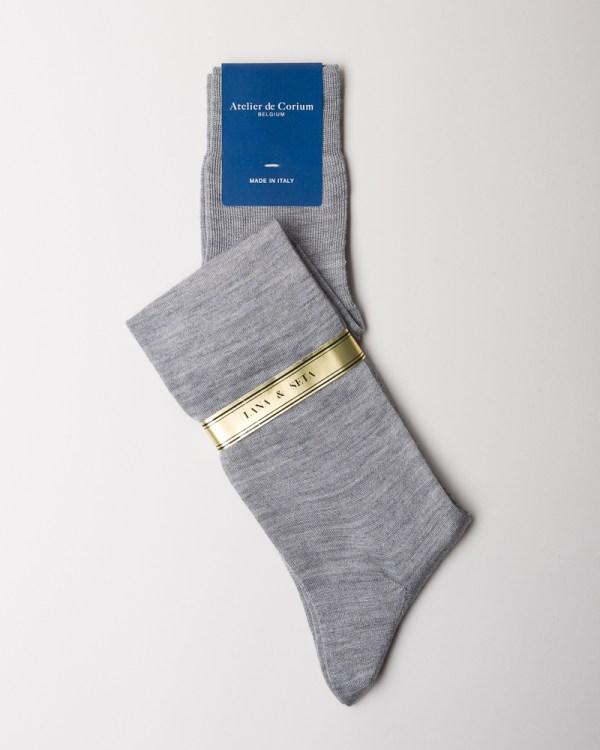 Grey Hand-linked Merino and Silk Socks