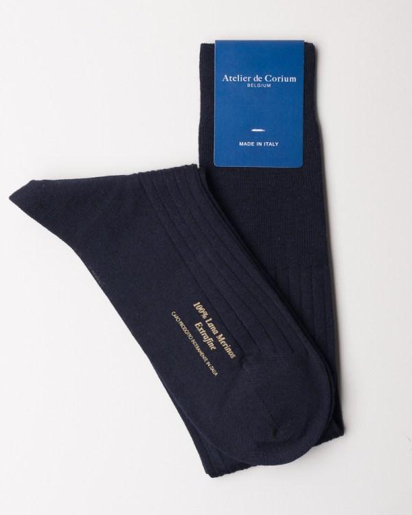 Navy Hand-linked 100% Merino Wool Socks close-up 2