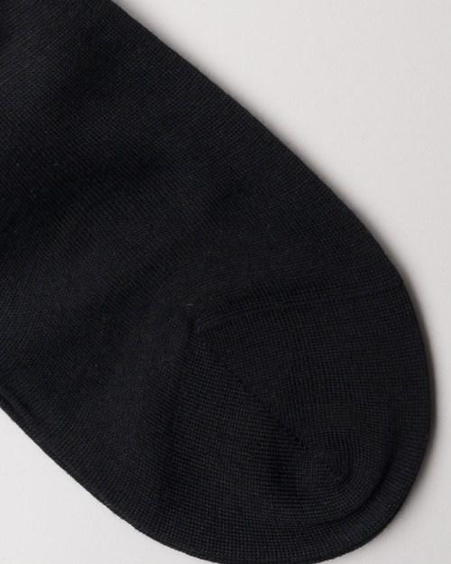 Black Hand-linked Merino and Silk Socks close-up