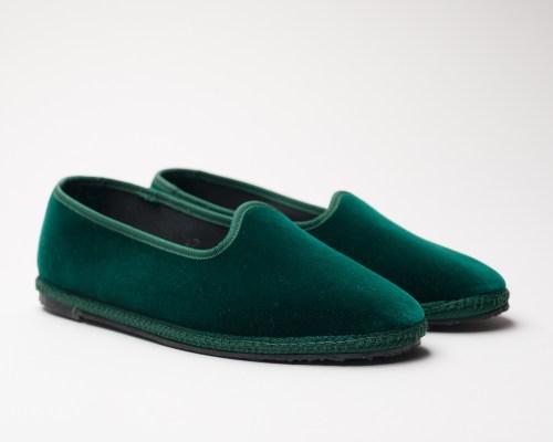 Atelier de Corium Green velvet Friulane slippers