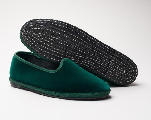 Atelier de Corium Green velvet Friulane slippers sole