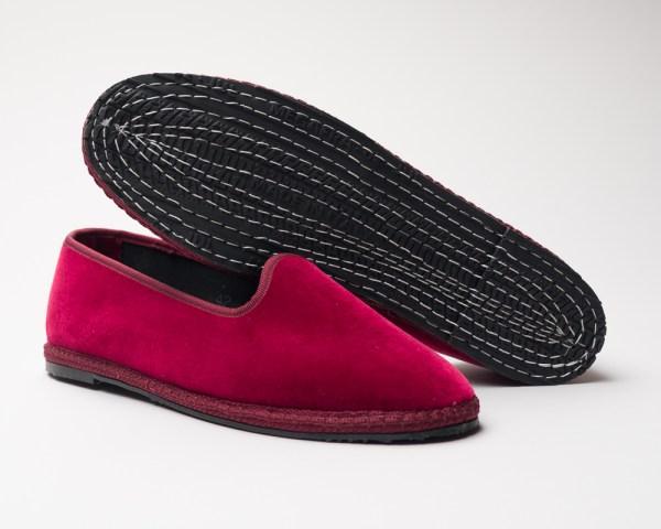 Atelier de Corium Bordeaux velvet Friulane slippers sole