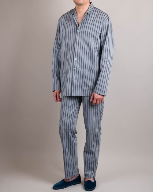 Long Sleeve Blue Pajamas Front