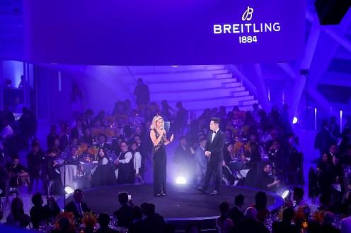 November 20th 2018 Breitling Gala Night Beijing Gala Dinner. Breitling Surfer Squad Member Sally Fitzgibbons on Stage (PPR/Breitling)