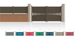 Modèle BolivarPortail centre 1/4 ajouré traverse de forme symétrique • Barreaudage horizontal ou vertical • Remplissage design horizontal ou vertical