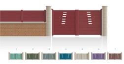 Modèle JussieuPortail haut 1/4 ajouré centre bas 1/3 plein traverse verticale de forme identique traverse horizontale • Barreaudage horizontal ou vertical • Remplissage design horizontal ou vertical