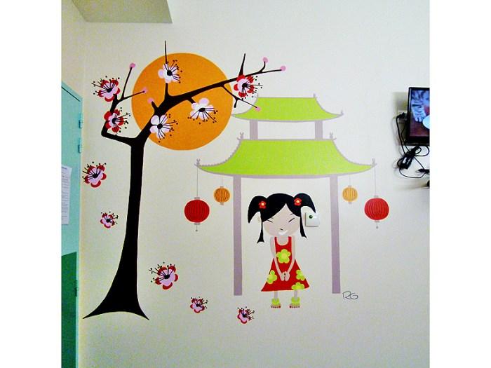 FRESQUE-asie-elephant-fleur-lotus-yoga-enfant-toulouse-hopital-décoration-1