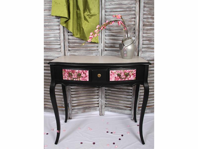 Meuble noir tulipe console bureau bois plateau beton cire 1 l