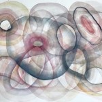 Original watercolor in nude colors, on heavy paper, with translucent shapes layered to give more depth and the illusion of infinity